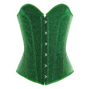 Shiny Overbust Corset, Burlesque Corset for Women, Sexy Plastic Bone Corsets, Green Women
