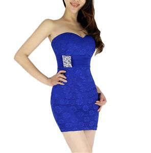 Lace Rhinestone Bodycon Dress, Strapless Lace Clubwear Dress, Women Sexy Blue Dress, #N7640