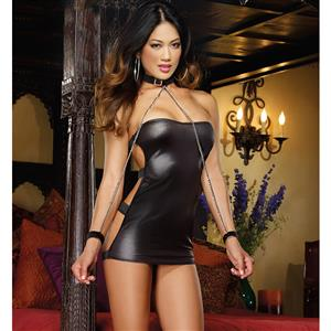 Shimmery Strapless Dress with Buckles and Restraints, Stretch Knit Strapless Dress with Buckles, Strapless Neck Chain Dress Set, #N8324