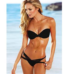 Drape Bandeau Bikini, Black Strapless Bandeau Swimsuit, Twist Strappy Swimwear, #BK6513