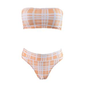 Strapless Bikini Set, Sexy Orange Plaid Bikini Set, Orange Beachwear Lingerie Set, Bikini Bra Top and Panty Set, Plaid Bikini Set for Women, Fashion Strapless Plaid Bikini Sets, #N17954