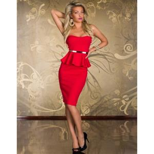Knee Length Evening Peplum Dress, Off-the-shoulder Red Peplum Midi Dress, Wrap Chest Halter Cocktail Dress, #N8679