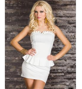 Rivet Office Lady Dresses, Off-the-shoulder White Peplum Dress, Gold Studded Neckline Peplum Dress, #N8683