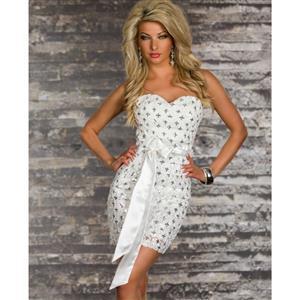 White Cross Foil Print Bandeau Dress, White Shiny Off Shoulder Dress, Strapless Seductive Club Dress, #N6668
