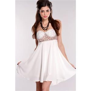 Lace Bodice Strapless Mini Dress, Bandeau Lace & Chiffon Dress, White Off The Shoulder Cocktail Dress, #N8795
