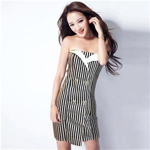Off The Shoulder Paty Dress, Strapless Vertical Striped Dress, Black & White Vertical Striped Dress, #N9090