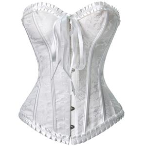 Strapless White Burlesque Corset, White Brocade Burlesque Corset with Ruffle Trim, White Corset, #M6529