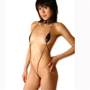 Sexy Hollow Out Leather Bodysuit Lingerie, Sexy Black Halter Backless Lingerie, Open Bikini Leather Bodysuit Lingerie,  Sexy Hollow Out Night Club Lingerie, Sexy Hollow Out Backless Leather Lingerie, Sexy Strappy Leather Bodysuit, #N16529