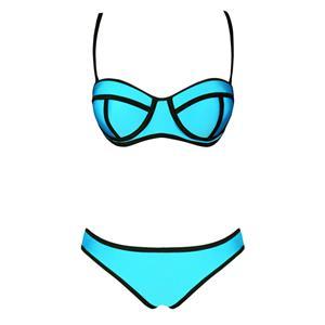 Blue Push Up Swimsuit, Bandeau Padded Bra Bikini, String Top & Bottom Bikini Sets, #BK8830