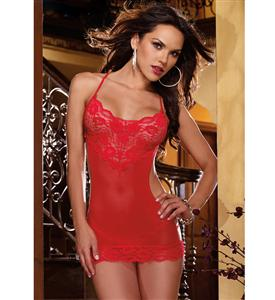 Stretch Lace Open Back Chemise Red N5776