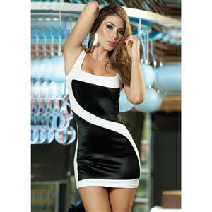 Contemporary Curve Dress, White and Black Dress, Sexy Dress, #C2178