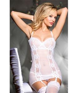 Stripe Stretch Mesh Chemise With Garters, Gartered Chemise, Lace Floral Chemise, #N5779