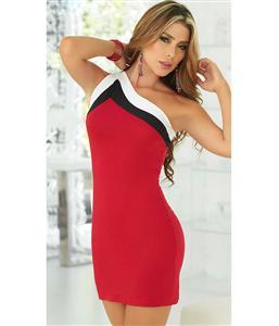 Striped One Shoulder Dress, Sexy One Shoulder Dress with Contrast Strap, Tricolor One Shoulder Dress, #N5652