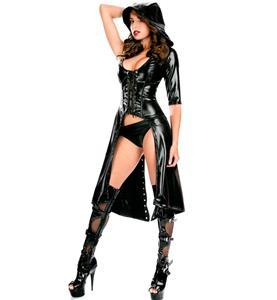 Sexy Black Faux Leather Costume, Sucker Punch Costume, Sweet Pea Costume, Gothic Punk Halloween Costume, #N10400