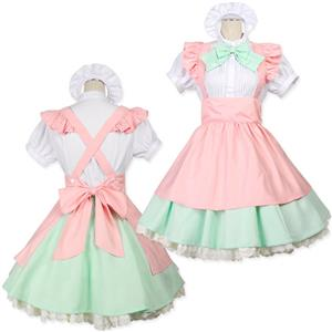 Sexy Lolita Maid Costume, Japonese Maid Costume, Pink, Green and White Maid Costume, #M8710