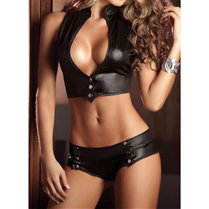 Sexy Black Top Set, Cheap Crop Top and Panties Set, Women