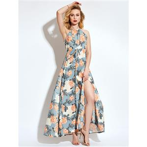 Summer Sexy Off-shoulder Halter Split Floral Print Maxi Dress N13099