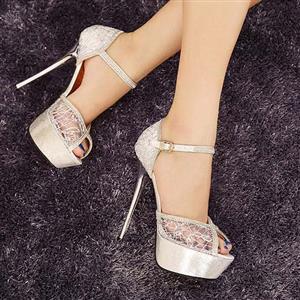 Summer Silver Diamante Lace Ankle Strap Stilettos SWS20170