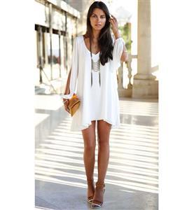 Boho Style Long Sleeveless Chiffon Dress, Low V-neck Open Sleeve, Elegant Women
