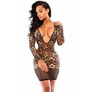 Hot Sexy Super Deep-v Neck Lace Flowers Print Split Joint Net Short Dress N10163