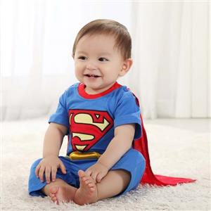 Superman Baby Short Sleeves Summer Romper Costume N10393