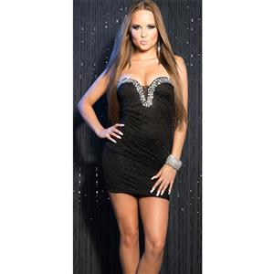 Sweet Rhinestone Studs Dress, Black Lace Dress, Rhinestone Lace Dress, #N8200