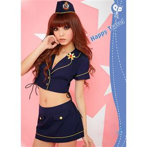 Sweet Stewardess Costume, Navy Blue Stewardess Costume, Flight Attendant Costume, #N8192