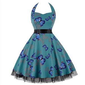 Retro Dresses for Women, Vintage Dresses for Women, Sexy Dresses for Women Cocktail Party, Casual Mini dress, Flower Print Swing Daily Dress, #N14856
