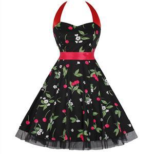 Retro Dresses for Women, Vintage Dresses for Women, Sexy Dresses for Women Cocktail Party, Casual Mini dress, Cherry Print Swing Daily Dress, #N14854