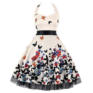 Retro Dresses for Women, Vintage Dresses for Women, Sexy Dresses for Women Cocktail Party, Casual Mini dress, Flower Print Swing Daily Dress, #N14851