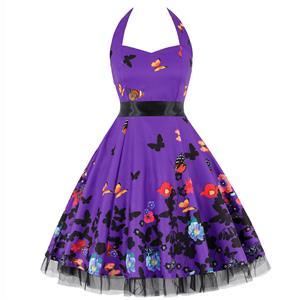 Retro Dresses for Women, Vintage Dresses for Women, Sexy Dresses for Women Cocktail Party, Casual Mini dress, Flower Print Swing Daily Dress, #N14852