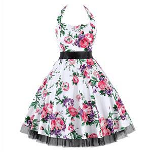 Retro Dresses for Women, Vintage Dresses for Women, Sexy Dresses for Women Cocktail Party, Casual Mini dress, Flower Print Swing Daily Dress, #N14858