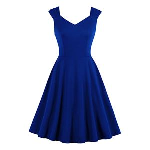 Vintage Solid Color Sweetheart Neckline Wide Shoulder Straps Party Swing Dress N20133