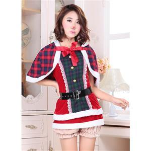 Sexy Santa Costume, Cutie Xmas Costume, Hot Selling Plaid Pattern Costume, Adult Santa Costume with Belt, #XT10914