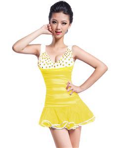 Naughty Hem Mini Dress, Sexy Yellow Hem Dress, Pleated Hem Halter Club Dress, #N7506