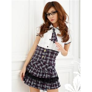 Plaid Pattern School Girl Costume, Japanese Schoolgirl Costume, Plaid Schoolgirl High-Waist Piped Kit, #N8454