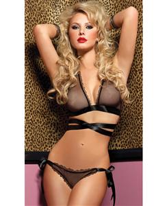 Tie Me Down Fishnet Bra Top Set, Black Fishnet Bra and Panty, #N4455