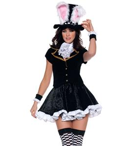 Adult Totally Mad Mad Hatter Costume, Totally Mad Mad Hatter Costume Adult, Adult Black Rabbit Costume, #N6283