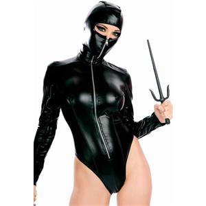 Toxic Hooded Ninja Teddy, Zipper Up Ninja Faux Leather Jumpsuit, Masked Ninja Open Eyes Halloween Costume, #N8509