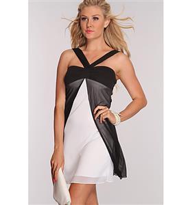 Treble Layered Mini Dress, Sling Fashion Dress, Cross Over Flow Cocktail Dress, #N6604