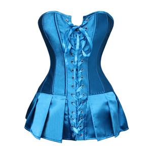 Strapless Pleated Burlesque Skirted Corset, Turquoise Skirted Corset, Pleated Burlesque Skirted Corset, #N5686