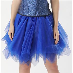 Mesh Skirt, Ballerina Style Skirt, Sexy Tulle Skirt, Tutu Tulle Mini Petticoat, Zigzag Tulle Mesh Skirt, Elastic Tulle Skirt Blue, #HG15006