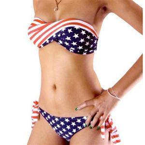 Twisted USA Flag Swimwear, USA Bikini Set, USA Print Bikini, #BK5264