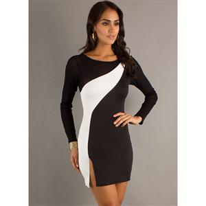 stretch two toned long sleeve dress, Short One Shoulder Black Dress, Two Tone Long Sleeve Dress White, #N5633