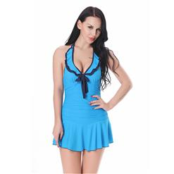 Sexy Swimwear Dress, Swimsuit Dress, Halter Swimsuit for Women, Blue Swimsuit, #BK13062