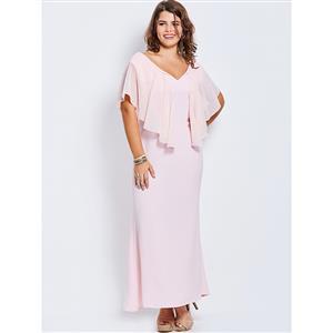 Chiffon Dresses for Women, V Neck Plus Size Maxi Dress, Plus Size Maxi Dress, Plain Pink Plus Size Maxi Dress, Slim Fit Maxi Dress, Fashion Pink Plus Size Maxi Dresses, #N16018