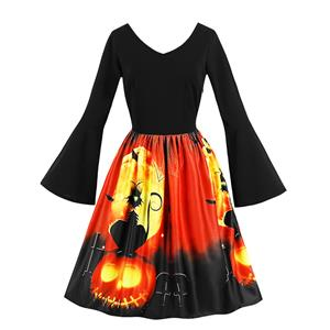 Fashion V Neck Flare Sleeve 3D Halloween Themed Print High Waist Dress N17975