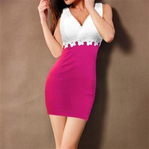Flower and Rhinestone Stretch Bodycon Dress, Sleeveless V-Neck Color Block Package Hip Dress, Pink and White Cocktail Evening Mini Dress, #N9087