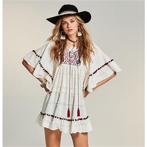 Sexy V Neck Mini Dress, Sexy Mini Dress, Mini Dress for Women, Loose Mini Dress, Half Sleeve Sexy Dress, #N14537