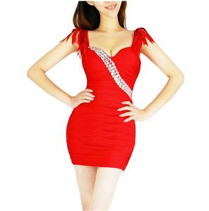 Sexy Fringe Halter Dress, V-Neck Party Short Dress, Red Halter V-Neck Mini Dress, #N6888